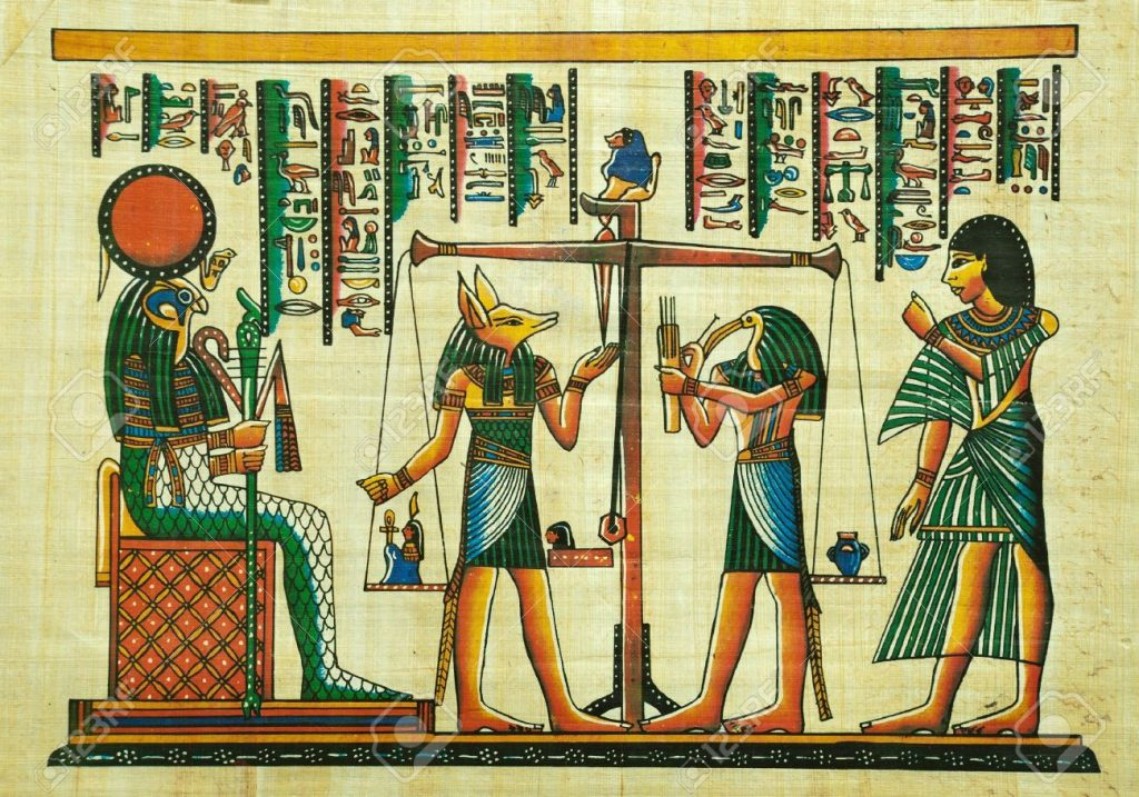 ägyptisch-grün auf Papyrus