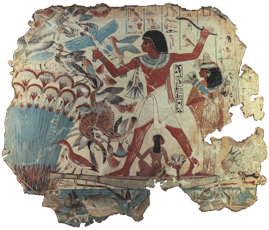 Nebamun bei der Vogeljagd, ägyptisch-blau