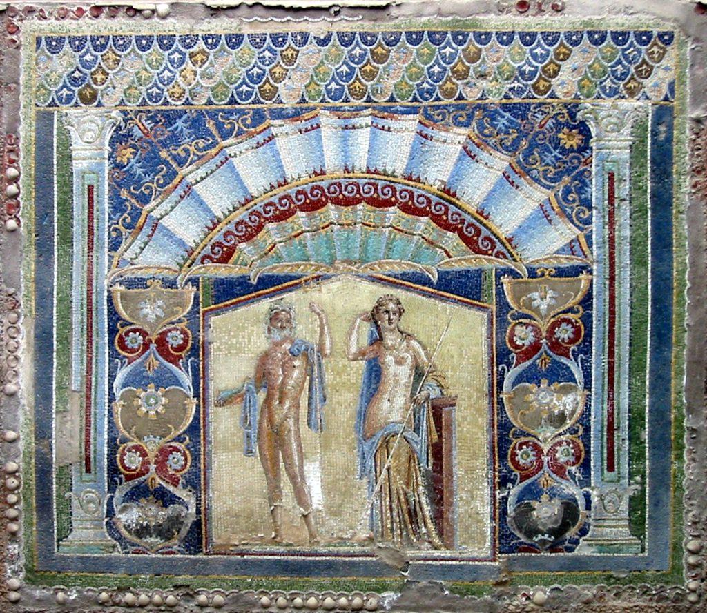 Neptun und Amphitrite, Mosaik aus Herculaneum